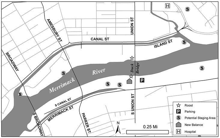 Map of Lawrence Roost and Staging Areas.